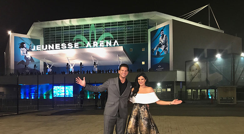 Jeunesse Chief Visionary Officer, Scott Lewis and Isabel Lewis welcome 17,000 to the grand opening of the Jeunesse Arena