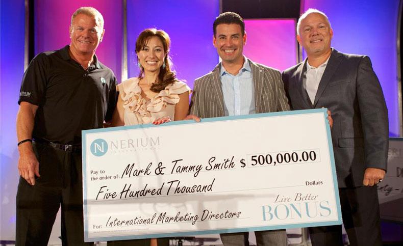 Mark O. Smith and Tammy Smith Bonus Check Nerium International