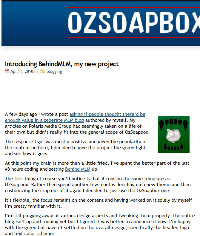 Introducing Behind MLM by OzSoapbox April 2010