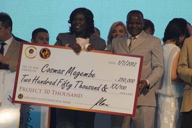 Cosmas Magembe $250,000 check