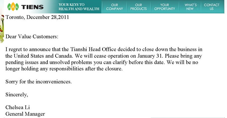 Tiens Closing down USA and Canada