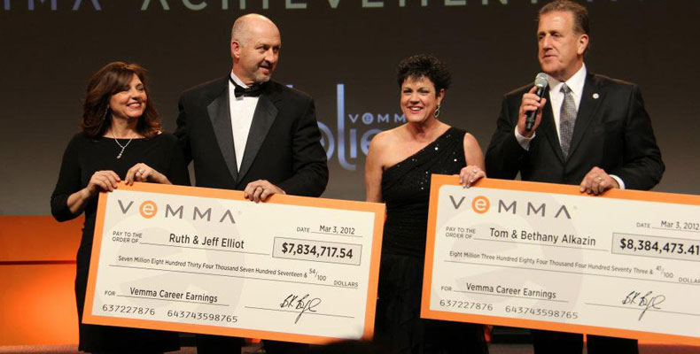 Ruth and Jeff Elliot, Tom and Bethany Alkazin Vemma Career Earnings